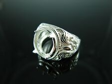 6154 Ring Setting Sterling Silver Size 7.25, 11.5 x 9.5 mm Oval Facet Or Cab Gem