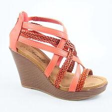 Women's Fashion Comfort Cross Strappy Wedge Platform Open Toe Sandal Size 5.5-11