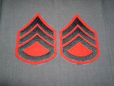 Pre 1959 USMC Platoon Sergeant chevron pair cut edge green on red wool MINT