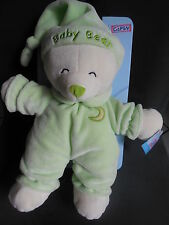 Doudou peluche ours Baby bear vert brodé lune GIPSY