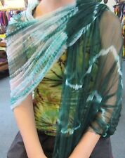 Silky Colourful Indian Thin Scarf Wrap With Beads White Base Tie Dye Dark Green