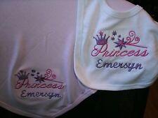 Princess wand Monogram Personalized Baby Toddler Blanket & Bib Combo Set Girl