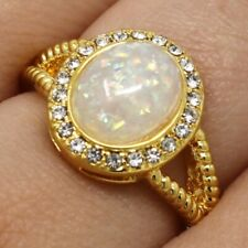 Gorgeous White Opal Ring Women Jewelry 14K Gold Plated Nickel Free Size 6 7 8 9