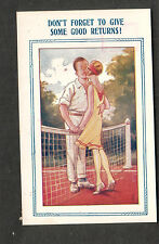 romantic comic post card Bamforth Co Tennis court/give some good returns!