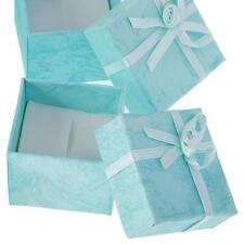 lot 24 Blue Square Paper Jewelry Gift Boxes Ring Earring Holder Case Package