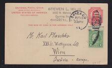 USA 1931 SC #UX25 UPRATED POSTAL STATIONERY CARD CHICAGO TO VIENNA AUSTRIA