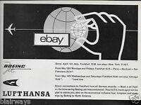 LUFTHANSA GERMAN AIRLINES 1960 BOEING 707 TRANSATLANTIC NEW YORK/FRANKFURT AD