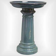 Light Blue Ceramic Garden Bowl Pedestal Bird Bath Out Door Sculpture Yard Decor