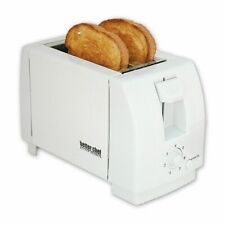 White Compact 2 Slice Toaster - Bread Two Slice Bagel Buns Waffle Toaster