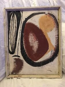 Bold Mid-Century Modern Biomorphic Double-Signed Painting On Card ~ CLARK 1955