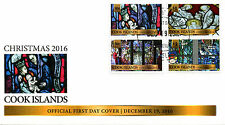 Cook Islands 2016 FDC Christmas Nativity Stained Glass 4v Set Pairs Cover Stamps