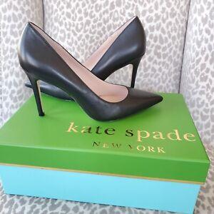 Kate Spade Vivian Black Leather Pointed Toe Stiletto High Heel Pumps Size 8.5