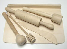 CHILDREN WOODEN COOKING SET 6 pcs Rolling Pin, Fork, Knife, Whisk, Pastry Board