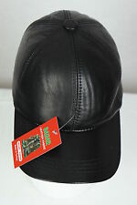 New 100% Genuine Real Lambskin Black Leather Baseball Cap Hat Sports Visor NWT
