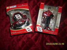NASCAR SET OF 2 DALE EARNHARDT JR FIGURE & CAR ORNAMENT #8 COLLECTIBLE