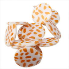 1string 110384+ Flat Disc Orange Leopard Faux Shell Bead 30mm FREE SHIPPING