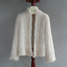 Soft Cozy 100 Genuine Real Knitted Rabbit Fur Women Jacket Lady Short Coat S (bust Size 80-90cm) Pink