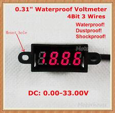 Waterproof DC0-33V  Digital LED 3-wire 4-bit Voltage Meter Voltmeter car Battery