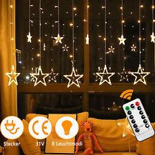 Sternenvorhang 12 Sterne Warm LED Lichtervorhang Lichterkette Speicherfunktion#