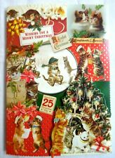 Punch Studio~Box 10~Kitten Collage~3D~Gold Foil Embellished~Christmas Cards~New!