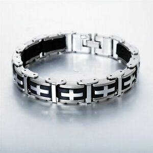 """14MM Men Stainless Steel Black Silicone Cross Link Cuff Religious Bracelet 8.5"""""""