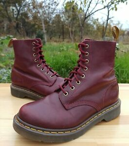 Dr Martens Pascal 1460 Women 5 UK 7 US Leather Combat Boots 8 eye Red Burgundy