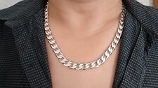 "18Carat WGP Chain Silver Necklace 24"" 10mm Men Valentine Christmas Birthday Gift"