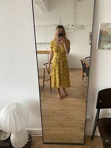 Faithfull The Brand Yellow Floral Midi Dress