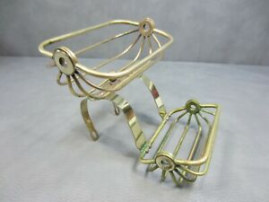 Antique Victorian Solid Brass Claw Foot Tub Soap Sponge Holder Dish Vintage
