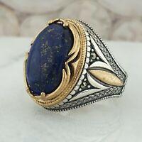 Solide 925 Sterling Silber Natural Lapis Lazuli Edelstein Männer Ring