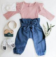 Fashion Newborn Baby Girl Infant Long Sleeve Clothes Romper Bodysuit Pant Outfit