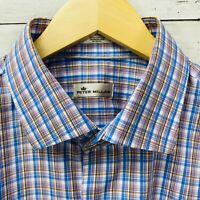 Peter Millar Blue Purple Plaid Long Sleeve Button Shirt Mens XL