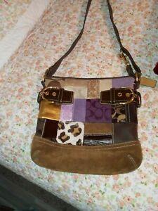 Coach Patchwork Leather & Canvas Duffle Handbag Multicolor