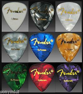 PÚAS GUITARRA puas FENDER Mix 9 Guitar picks plectrum Bajo, Bandurria, laud..