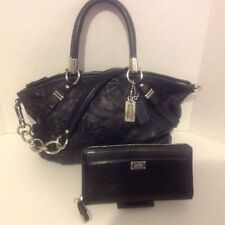 COACH MADISON EMBELLISHED SOPHIA BLACK LEATHER SATCHEL HANDBAG W / WALLET