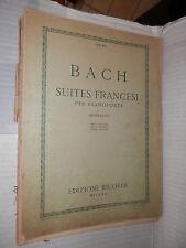 SUITES FRANCESI Per pianoforte G S Bach Mugellini Ricordi 1940 libro musica di