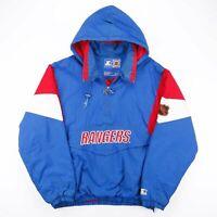 Vintage STARTER NFL New York Rangers Blue Sports Nylon Puffer Jacket Mens XL