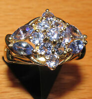 SECONDHAND 9ct YELLOW GOLD EX QVC MULTI TANZANITE CLUSTER RING SIZE N