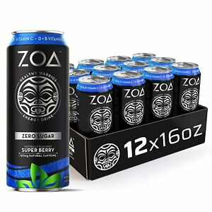 ZOA, Zero Sugar Energy Drink, Super Berry, 16 fl. oz. (Pack of 12) - Supports He