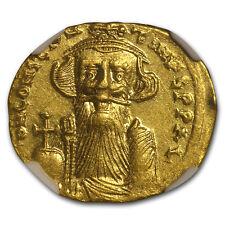 Byzantine Gold Solidus Emperor Constans II(641-668 AD)NGC (Vault) - SKU #152758