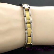 Magnetic Power Tungsten Arthritis Sports Power Unisex Silver & 24K Gold Bracelet