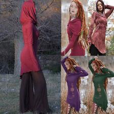 Women Medieval Vintage Hooded Dress Long Sleeve Cosplay Costumes Irregular Dress