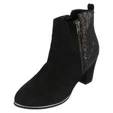 Ladies black heeled spot on ankle boot style F50465