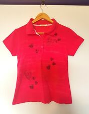 Diesel womns size L brigjt pink short sleeve graffiti style love heart polo top