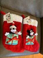 Disney Mickey & Minnie Mouse Christmas Red Stockings w/ Mini Plush Toys NWT
