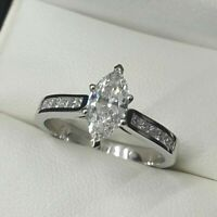 3Ct Marquise VVS1 Diamond Vintage Solitaire Engagement Ring 14K White Gold Over