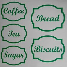 Coffee, Tea, Sugar, Bread & Biscuits Vinyl Lables Stickers 16 Colours Free P&P