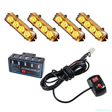 Car Truck 12V Amber Emergency Hazard Warning Beacon Flash Strobe Light 4X 4 LED