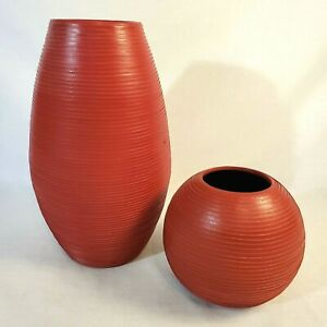 Red Leather Ceramic Vases from Crate and Barrel Lot of 2