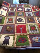 Pottery Barn Twin Multicolored Quilt ALL SPORTS Football Baseball Basketball